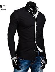 Shirts ( Schwarz/Blau/Weiss , Baumwollmischung ) - für Freizeit/Übergrößen - für MEN - Reine - Langarm