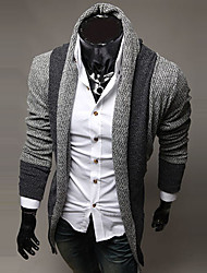 Men's Casual Striped Long Sleeve Regular Cardigan (Cotton/Wool)