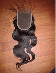 "20"" 4x4"" Brazilian Human Hair Lace Closure Left Part Body Wave Hair Piece Closure Natural Colour"