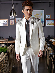 Tuxedos Tailored Fit Slim Notch One-Button Cotton/Polyester Patterns 2 Pieces White
