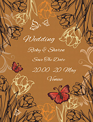 Personalized Wedding Invitations Chocolate Butterfly Pattern Save The Date Paper Card 15cm x 12.5cm 50pcs/Set