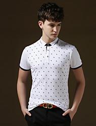 Men's Casual/Work/Sport/Plus Sizes Print Short Sleeve Regular Polo T shirt(Cotton)