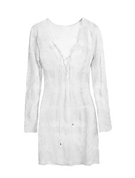 Women's Mesh Hollow White Cover-up, Deep V Neck Lace Up Beach Dress