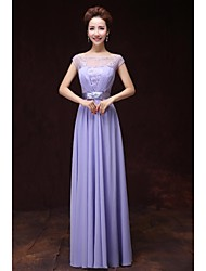 Formal Evening Dress - As Picture A-line Bateau Floor-length Satin