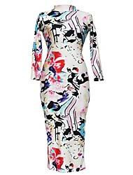 Women's Colorful Painting Print Sleeved Midi Dress