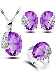 Women's Purple Zircon Jewelry Sets Rhinestone Handmede Jewelry Sets