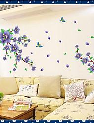 fleur pourpre rmovable environnement&oiseau volant sticker mural PVC