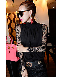 Women's Stand Tops & Blouses , Chiffon/Lace Sexy/Casual/Lace Long Sleeve KaMan