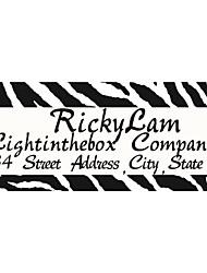Personalized Product Labels / Address Labels Black Zebra-Stripe Wild Style Pattern White Film Paper