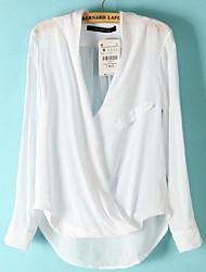 Women's Pure Color Cotton Long Sleeve Shirt