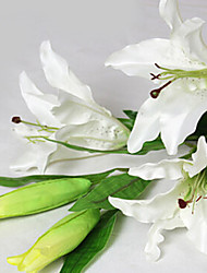 Set of 5 43inch Long 5 Heads Fabric Lily White Color