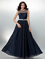 Formal Evening Dress - Dark Navy Plus Sizes / Petite A-line Jewel Floor-length Lace