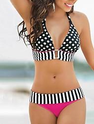 kvinnors sexiga grimma polka dot skarvas bikini set