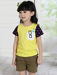 Girl's Pocket Glasses Patterned Cotton T Shirt(More Colors)