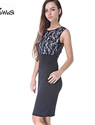 NUO WEI SI ® Women's Sexy Round Neck Lace Empire Bodycon Sleeveless Dress
