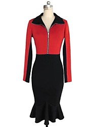 Women's Vintage Turtle Neck Zip Closure Contrast Color Trumpet Long Sleeve Dress