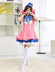 Cosplay Costumes / Party Costume Maid Costumes Festival/Holiday Halloween Costumes White / Pink / Blue PatchworkShirt / Skirt / Headpiece
