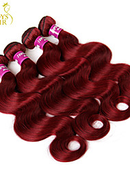 "3Pcs Lot 12-28"" Indian Virgin Hair Body Wave Wavy Burgundy Wine Red 99J Indian Remy Human Hair Weave Bundles Tangle Free"