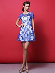 Cocktail Party Dress - Royal Blue Plus Sizes / Petite A-line Jewel Short/Mini Lace