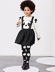 Girl's All Seasons Micro-elastic Thin Tshirt and Dress Long Sleeve Clothing Sets (Cotton)