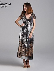 Women's V-Neck Vintage/Sexy/Beach/Print/Cute/Maxi/Plus Sizes Micro-elastic Short Sleeve Maxi Dres