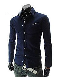 Men's Long Sleeve Shirt , Microfiber Casual/Work/Formal Pure