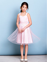 Knee-length Junior Bridesmaid Dress - Blushing Pink A-line Straps