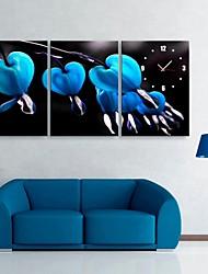 e-home® flores azuis relógio em lona 3pcs