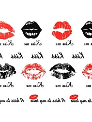 2Pcs Yimei Tattoo Stickers Waterproof Animal Series Women/Girl/Men/Adult/Boy/Teen Black   Lip Print  Pattern  17cm*16cm