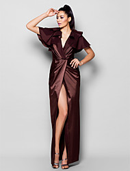 TS Couture® Formal Evening Dress - Chocolate Plus Sizes / Petite Sheath/Column V-neck Floor-length Stretch Satin