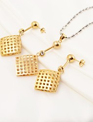 Fashion Square Hollow Stainless Steel(Necklace&Earrings) Jewelry Set
