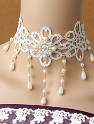 Palace retro Sweet Princess  Lace Pearl Necklace