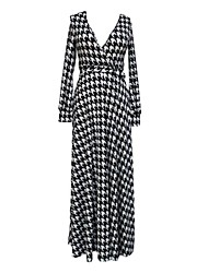 Women's Black White V Neck Long Sleeve Plover Print Maxi Dress