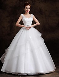 Ball Gown Wedding Dress Floor-length Straps Organza / Tulle with
