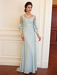 Formal Evening Dress - Sky Blue Plus Sizes Sheath/Column Sweetheart Floor-length Satin / Sequined