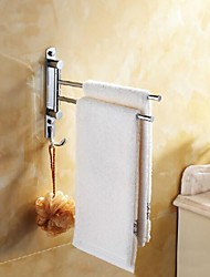 Towel Rack with Hooks,Contemporary 304 Stainless Steel Double Bars Active Towel Bar