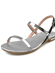 Women's Shoes Leather Flat Heel Comfort Sandals Office & Career/Dress Silver/Gold
