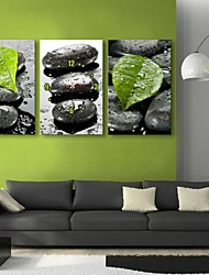 E-HOME® Stones And Leaves Clock in Canvas 3pcs