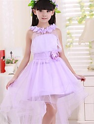 Flower Girl Dress Floor-length Satin Purple Princess Sleeveless Dress