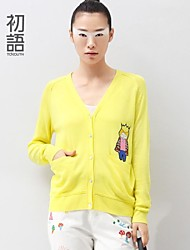 Women's Blue/Yellow Cardigan , Casual Long Sleeve