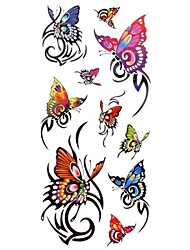 1pc Women's Waterproof Temporary Tattoos Finger/Neck Tattoos Spring Rose Butterfly Bracelet Body Tattoos(18.5cm*8.5cm)