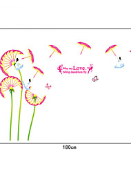 Chinese Style Fairy Umbrella Dandelion PVC Wall Stickers