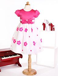 Flower Girl Dresses Princess  Jewel  Tea-length Satin Dress