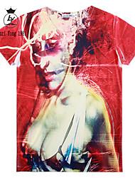Herren T-shirt-Druck Freizeit / Sport Baumwollmischung Kurz-Mehrfarbig