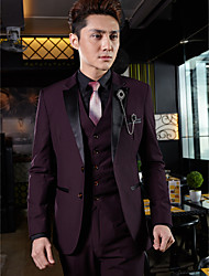 Tuxedos Tailored Fit Slim Peak Two-Button Cotton/Polyester Solid 3 Pieces Grape