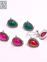 AS 925 Silver Jewelry Beautiful Pear Shaped Earrings