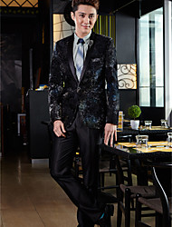 Tuxedos Tailored Fit Shawl Collar One-Button Polyester/Spandex Patterns 2 Pieces Multicolor