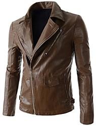 Men's leisure lapel zipper more PU leather