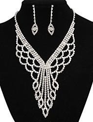 moda longa queda totalmente strass conjunto de jóias de cobre de prata (1 jogo)