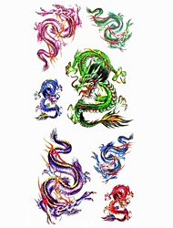 1pc Fashion Waterproof Temporary Tattoos Back/Leg/Neck/Arm Tattoos Blue Red Dragon Body Tattoos(18.5cm*8.5cm)